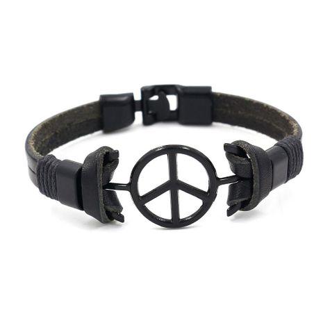 Pulsera vintage de cuero negro con signo de la paz para hombre NHHM194494's discount tags