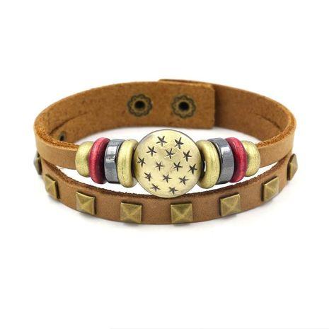 Pulsera de cuero con cuentas tachonada de estrella vintage pulsera de cuero de capa de piedra de ojo de gato masculino joyería de niña NHHM194495's discount tags