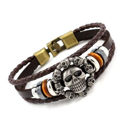 Retro skull leather bracelet male ghost head leather multilayer multilayer bracelet bracelet jewelry wholesale NHHM194497's discount tags
