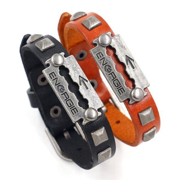 New Studded Leather Bracelet Men's Retro Leather Bracelet Bracelet Jewelry Wholesale NHHM194506
