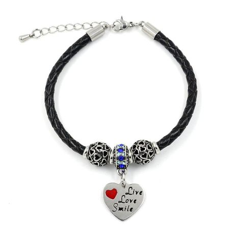 Fashion accessories stainless steel heart pendant leather braided rope beaded bracelet women NHHM194512's discount tags
