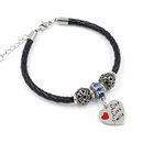 Fashion accessories stainless steel heart pendant leather braided rope beaded bracelet women NHHM194512