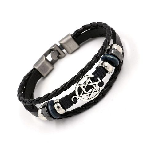 Charm Bracelets Hexagon Star Woven Leather Bracelet Wholesale NHHM194514's discount tags