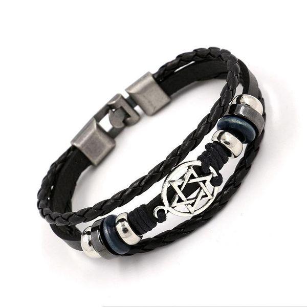 Pulseras con dijes Hexagon Star Woven Leather Bracelet Wholesale NHHM194514