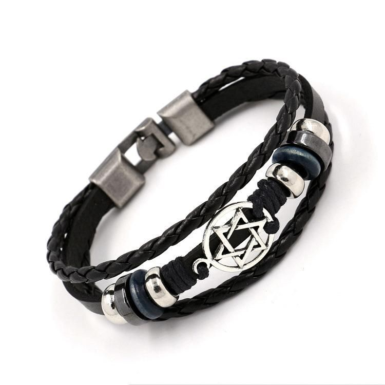Charm Bracelets Hexagon Star Woven Leather Bracelet Wholesale NHHM194514