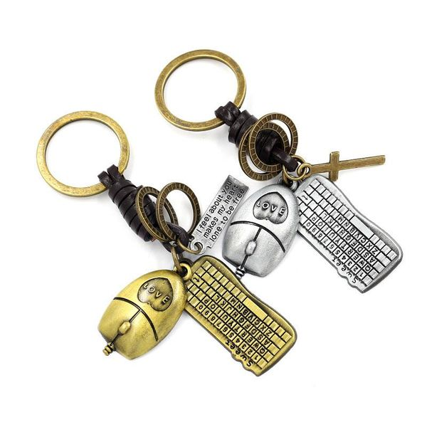 Korean small gifts retro metal mouse keyboard pendant couple keychain pendant NHHM194515