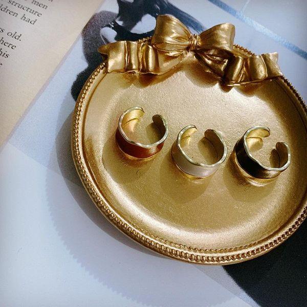 Korean ear clip retro round wave dripping glaze simple earrings women NHYQ194522
