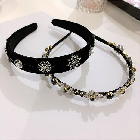 Retro black velvet hairpin hair hoop  temperament hair band Korean headdress elegant lady headband NHYQ194523's discount tags
