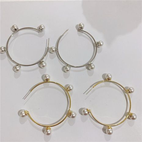 High-quality pearl earrings elegant exaggerated large hoop earrings women NHYQ194525's discount tags