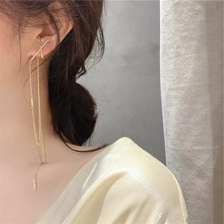 Simple temperament cross chain tassel extra long earrings  silver needle NHYQ194528
