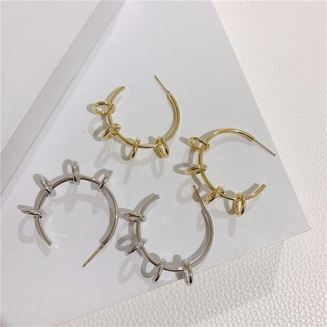 Metal geometric hollow circle earrings temperament niche C-shaped hoop earrings women NHYQ194532's discount tags