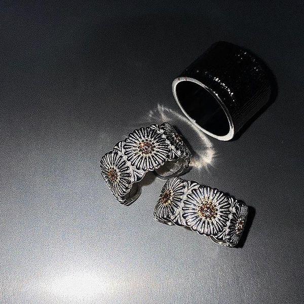 Vintage small daisy metal split ring couple ring NHYQ194541