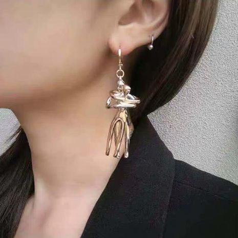 Vintage gold and silver two-color human earrings NHYQ194544's discount tags