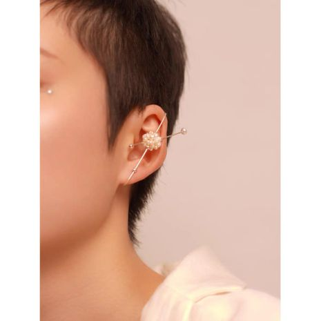 Cross metal ear hanging geometry high quality pearl ear bone clip ear pin clip earrings NHYQ194549's discount tags