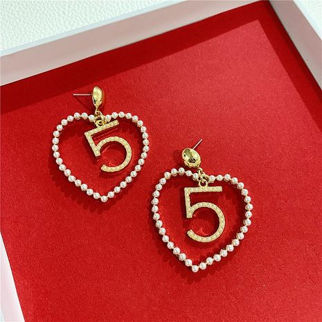 Pearl Love Earrings Hollow Earrings Temperament Earrings Wholesale NHYQ194551's discount tags