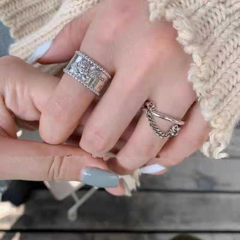 Womens fashion ring with wide edge chain multilayer ring NHYQ194554