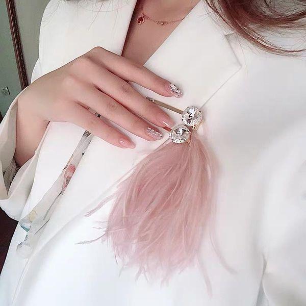 Premium Grey Pink Feather Crystal Hair Clip Side Clip Super Gemstone Hair Clip Brooch NHYQ194557