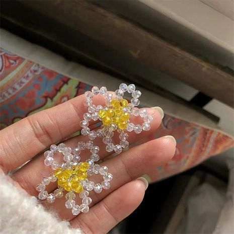Hand-knitted delicate western crystal flower women's earrings earrings NHYQ194560's discount tags