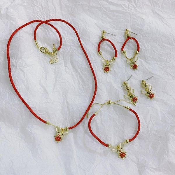 Rat year woven transfer red rope necklace adjustable girlfriends bracelet female earrings NHYQ194563