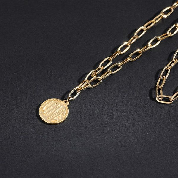 Korean personality temperament coin metal  women's necklace clavicle chain wholesale NHLL194610
