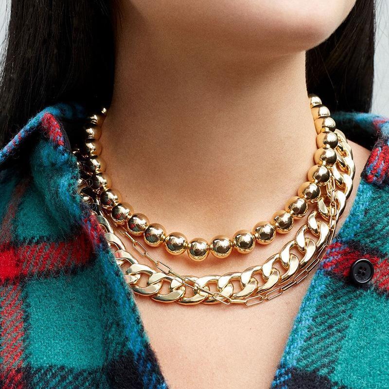 Moda exagerada gran cadena de oro cadena de clavícula de cadena de cuello de metal NHLL194637