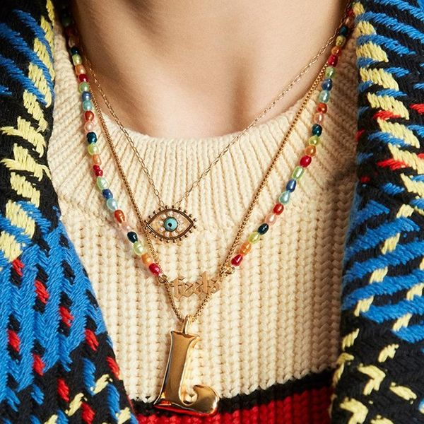 Creative big eyes tears zircon necklace ladies personality sweater chain NHLL194662