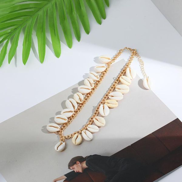 Bohemian natural shell necklace wild short alloy clavicle chain NHLL194666