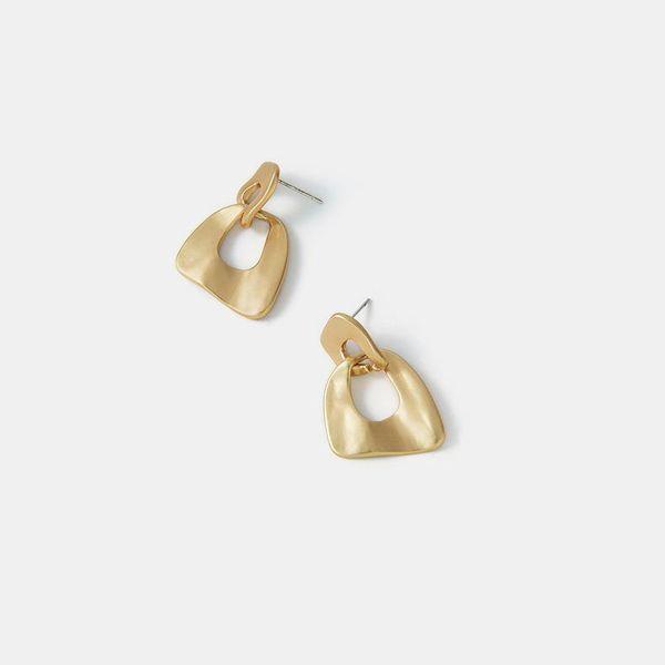 Nuevos aretes de aleación mate para mujer S925 plata pendientes geométricos irregulares simples NHQS194670