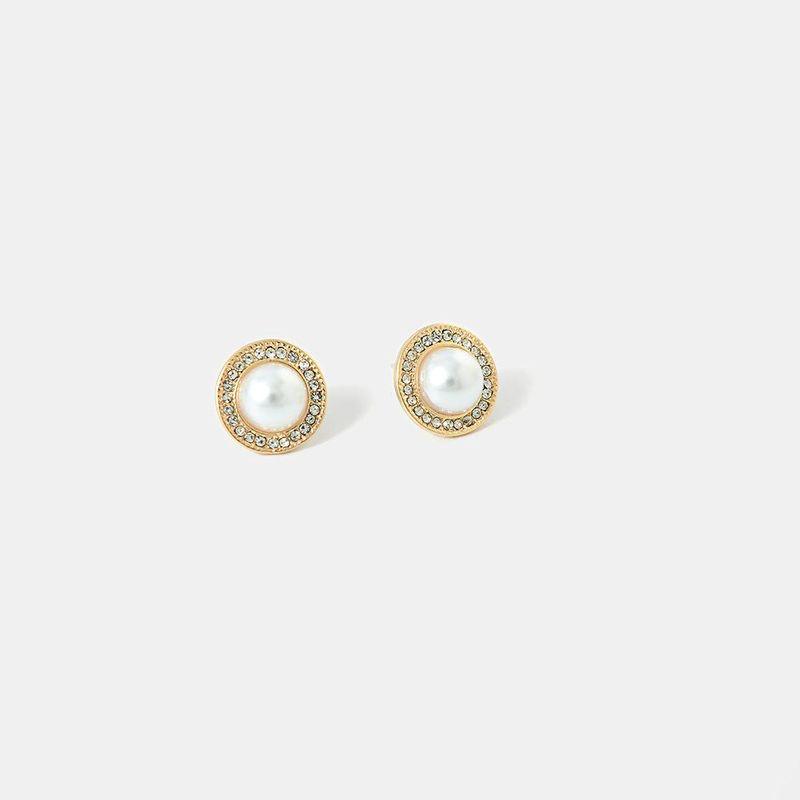 Fashion new pearl full diamond earrings S925 silver round bright gold earrings for women NHQS194672