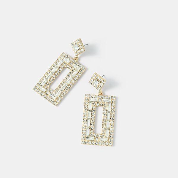 wholesale diamond geometric earrings vintage square crystal stud earrings NHQS194676