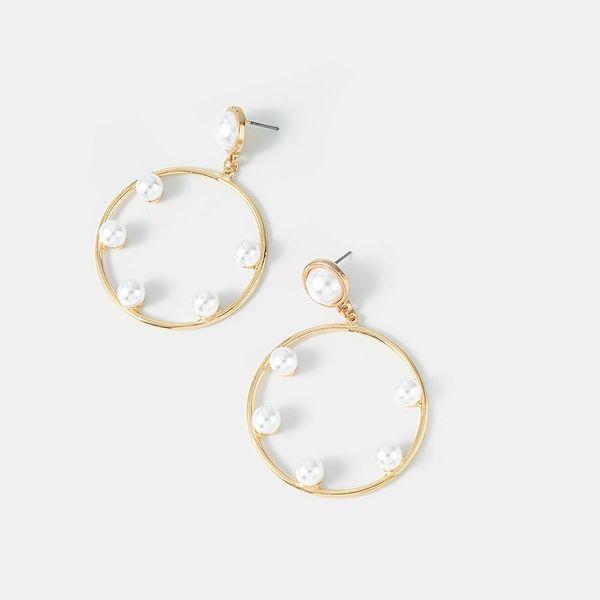 Nuevos aretes de perlas de moda Pendientes de círculo hueco NHQS194679