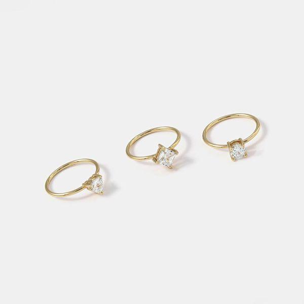 Zircon ring women micro inlaid fashion generous wild ring set NHQS194694