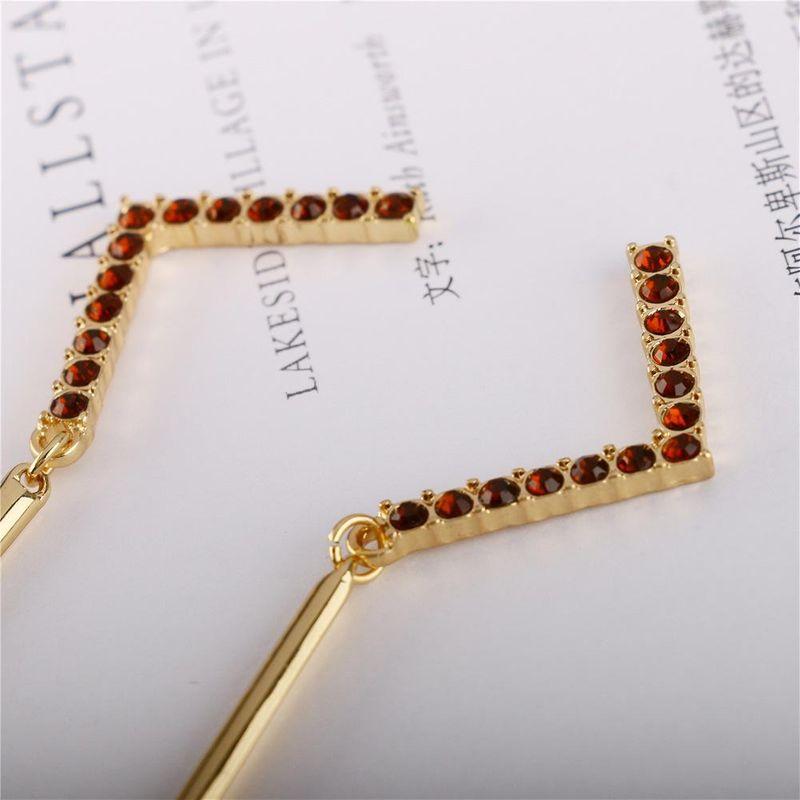 New coffee color full diamond long earrings simple fashion wild alloy earrings NHQS194695