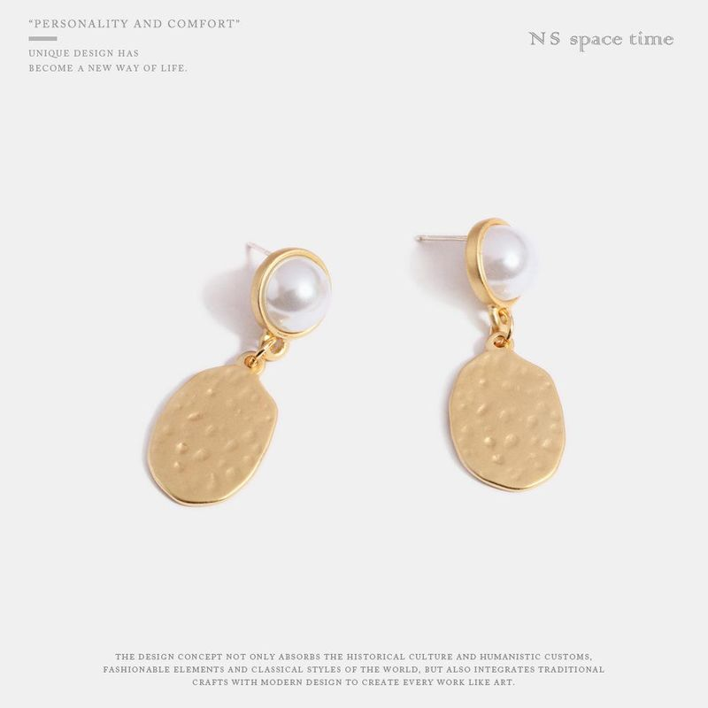 Geometric hollow shape pearl alloy stitching earrings fashion handmade ear jewelry NHQS194704