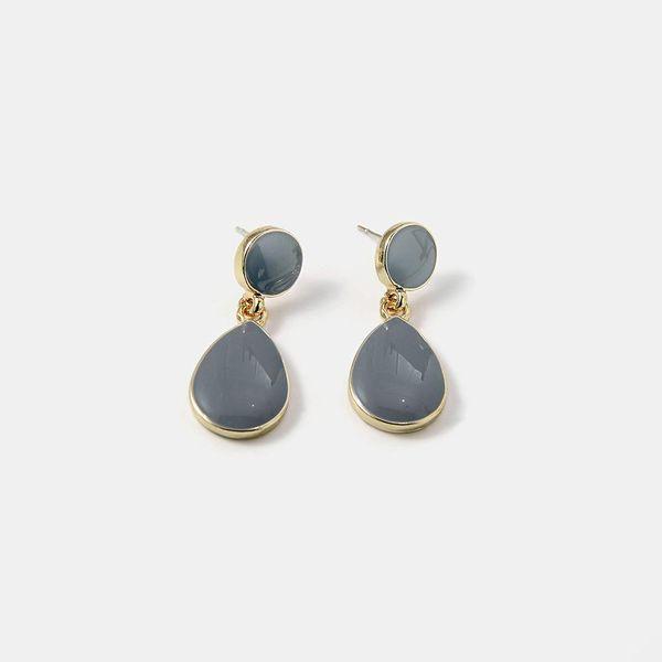 Korean popular S925 premium gray drop oil earrings  water drop alloy simple fashion earrings NHQS194707