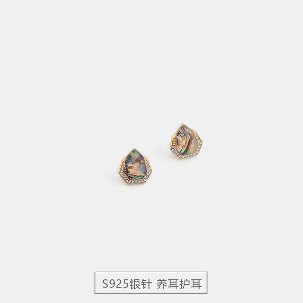 New Fashion Shell Resin Full Diamond Stud Earrings S925 Silver Creative Earrings NHQS194709