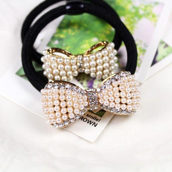 Korean style hair jewelry wholesale pearl diamond square peach heart NHDP194716