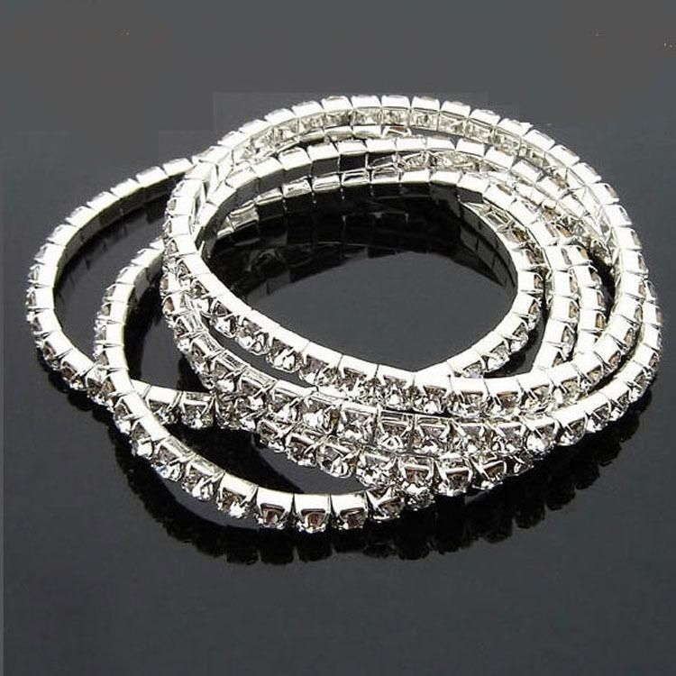 Korean version of jewelry wholesale full diamond single row elastic bracelet shiny bracelet NHDP194725