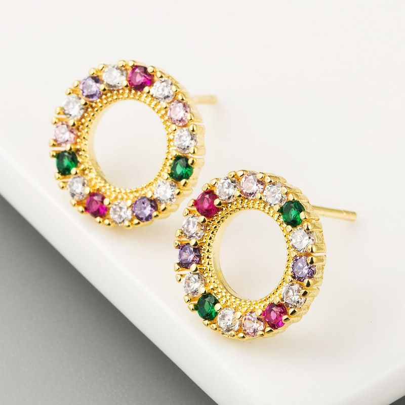 Female Earrings Hollow Circle Copper Plated 18K Gold Micro-Set Color Zirconia Stud Earrings NHLN194763