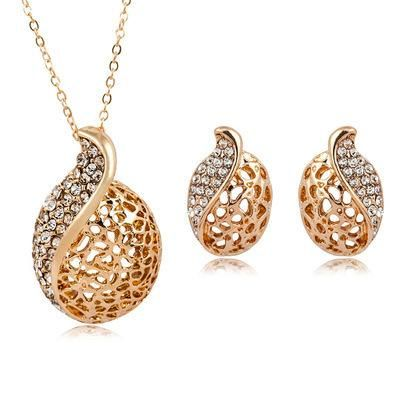Fashion Women's Crystal Water Drop Long Necklace Environmentally Friendly Gold Plated Silver Flower Necklace NHCU194774