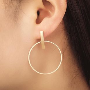 Geometric round stud earrings temperament large circle women's earrings electroplated gold silver black NHCU194776's discount tags