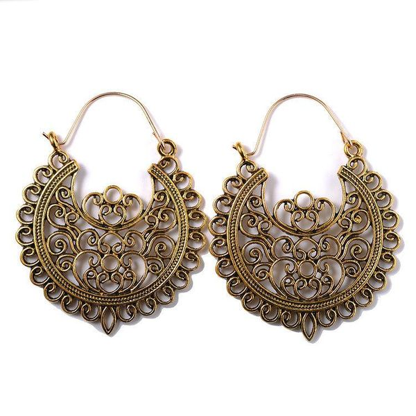 Bohemian metal alloy hollow carved  retro pattern earrings U-shaped earrings NHCU194782