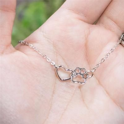 Pet Feet Dog Paw Peach Heart Pendant Necklace Cat Paw Love Necklace Wholesale NHCU194790's discount tags