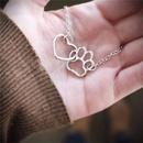 Pet Feet Dog Paw Peach Heart Pendant Necklace Cat Paw Love Necklace Wholesale NHCU194790