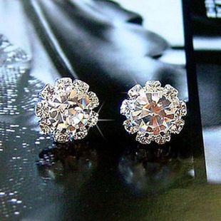 Fashion Crystal Gemstone Stud Earrings Sun Flower Ear Studs Flowers Floral Zircon Ear Studs NHCU194808's discount tags
