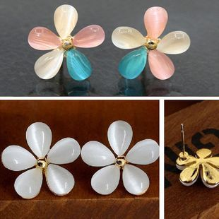 fashion cat's eye flower earrings women sweet five petal flower earrings NHCU194809's discount tags