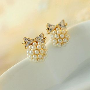 Korean version of cute zircon bow pearl earrings women sweet bow earrings NHCU194810's discount tags
