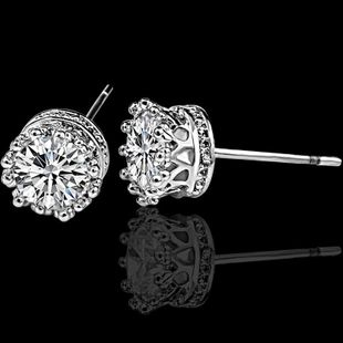Geometric round earrings small crown zircon earrings women's earrings NHCU194811's discount tags