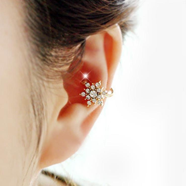 Snowflake Rhinestone Ear Clip Star Pentagram Earrings NHCU194813