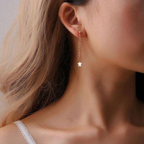 Aretes largos de borla de cadena de pentagrama simple de moda Pendientes de estrella linda de mujer NHCU194814's discount tags